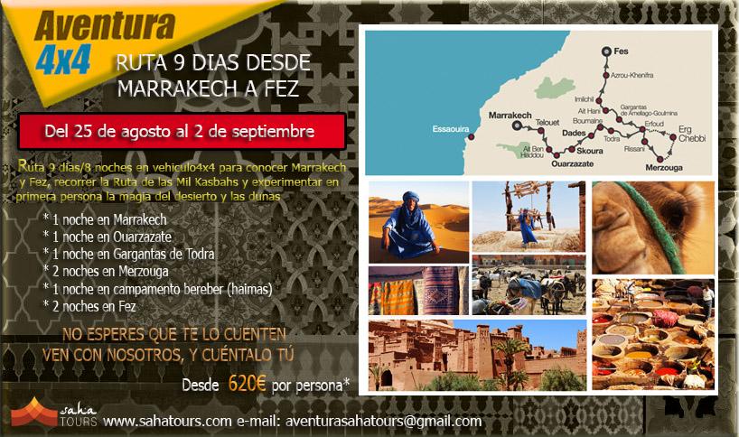 SALIDAS EN GRUPO. RUTA 9 DIAS/8 NOCHES DESDE MARRAKECH A FEZ, Del 25 de agosto al 2 de septiembre 1