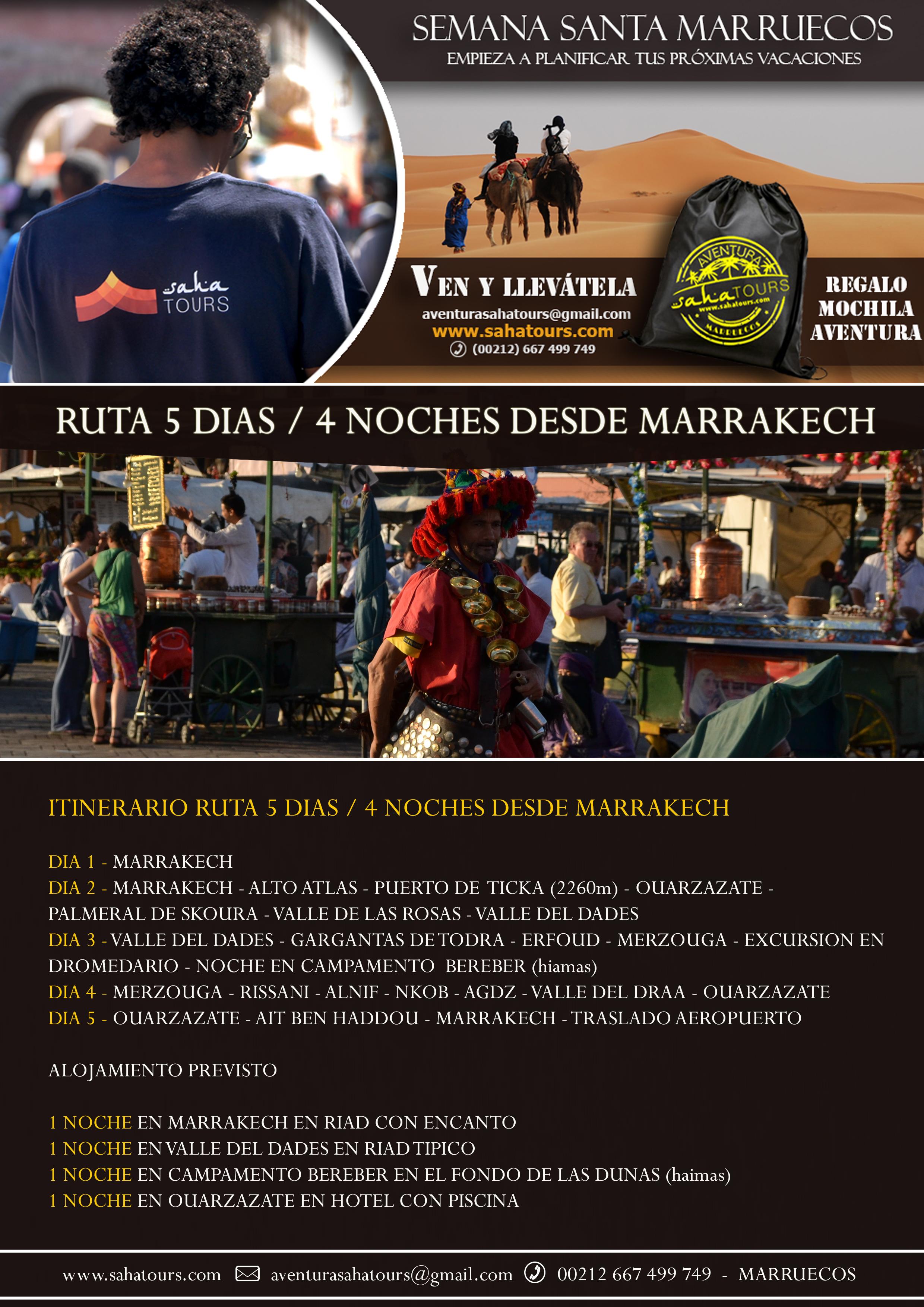 SEMANA SANTA MARRUECOS - RUTA 5 DIAS / 4 NOCHES DESDE MARRAKECH 1