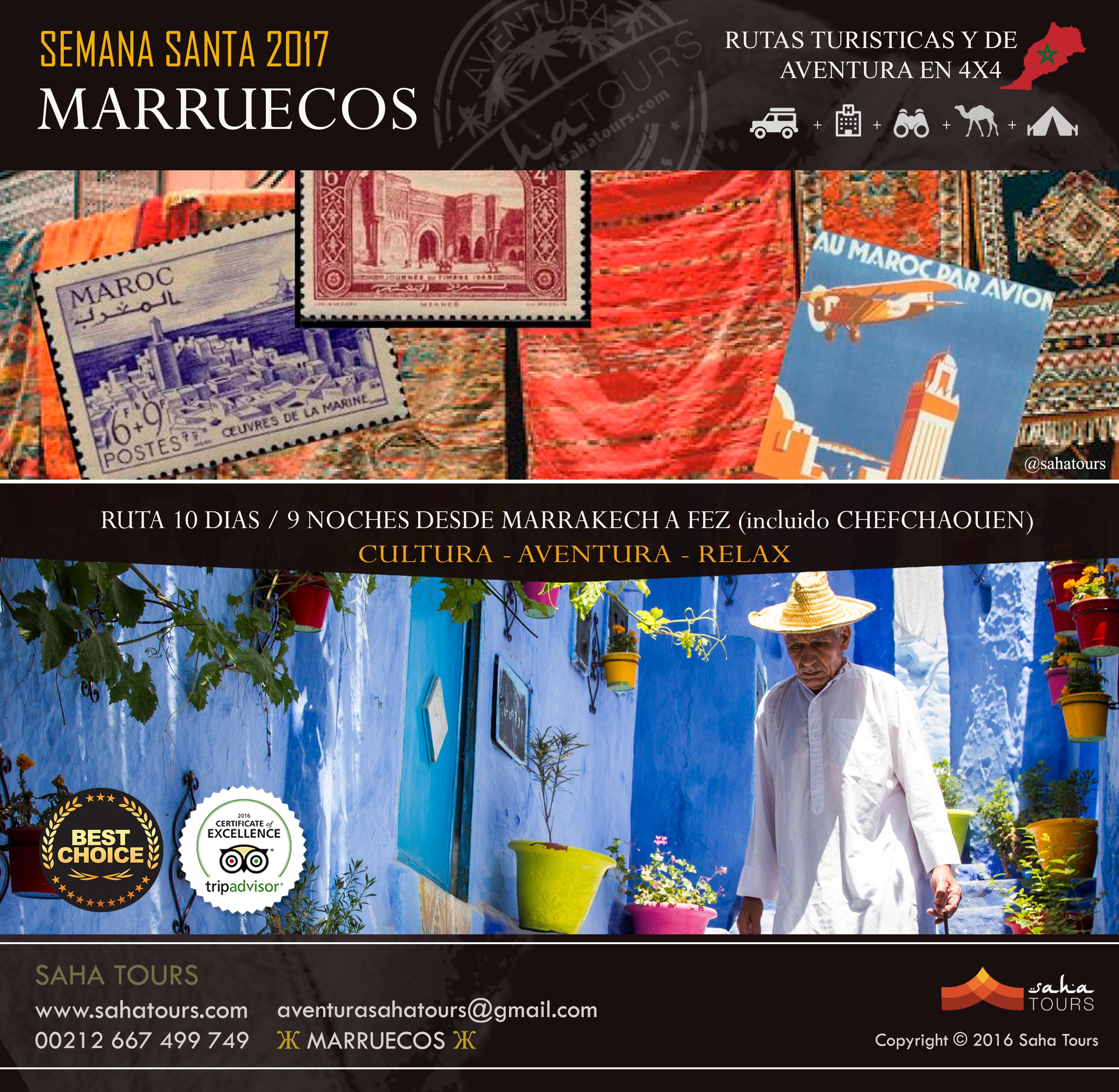 VIAJE A MARRUECOS - SEMANA SANTA 2017 - RUTA 10 DIAS / 9 NOCHES DESDE MARRAKECH A FEZ (incluido CHEFCHAOUEN) 1
